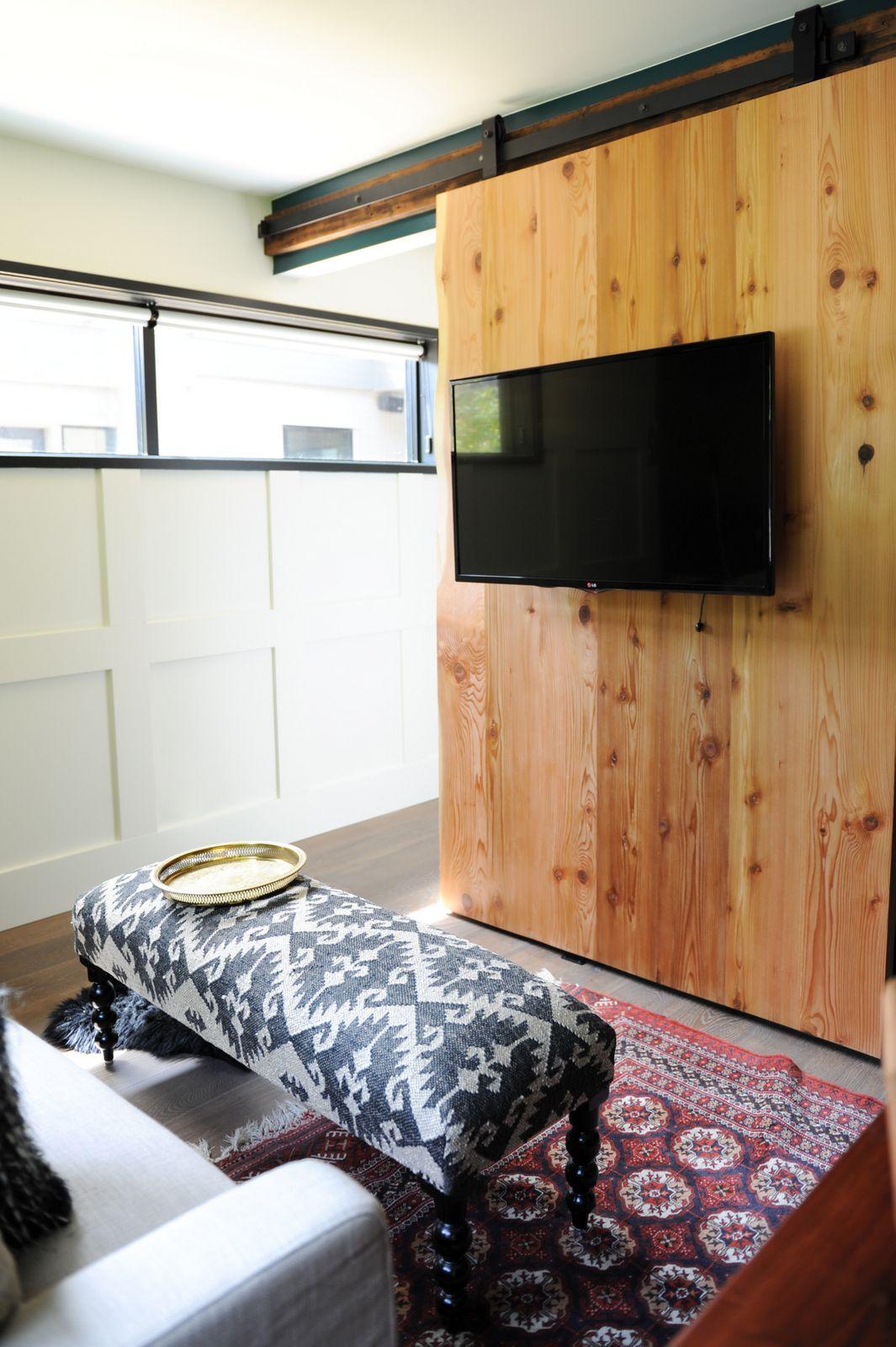 ... Decorating Tracey Door Pics : Barn Door, TV Mounted, Cozy Den,  Wainscoting Www ...