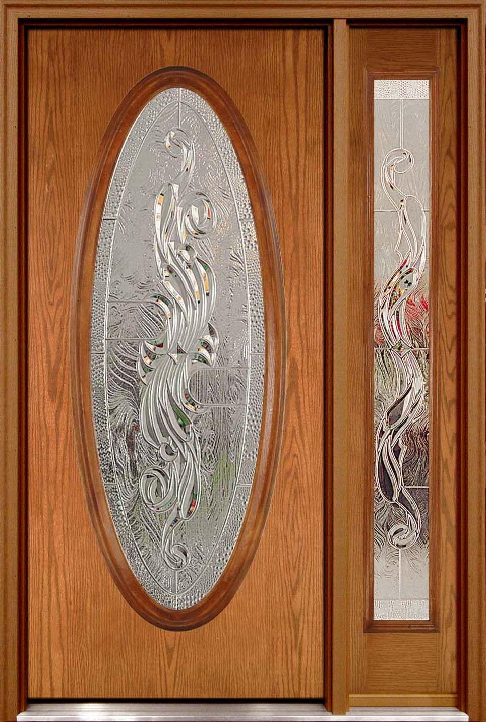 Fiberglass Door With Fancy Glass Oval