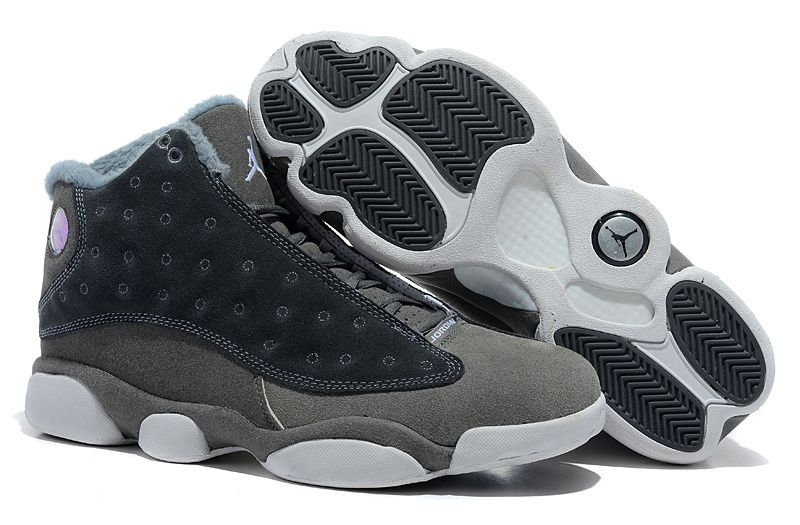 db2a5327 Air Jordan 13 Retro Flints Navy Wolf Grey Suede Winter Fur Interior ...