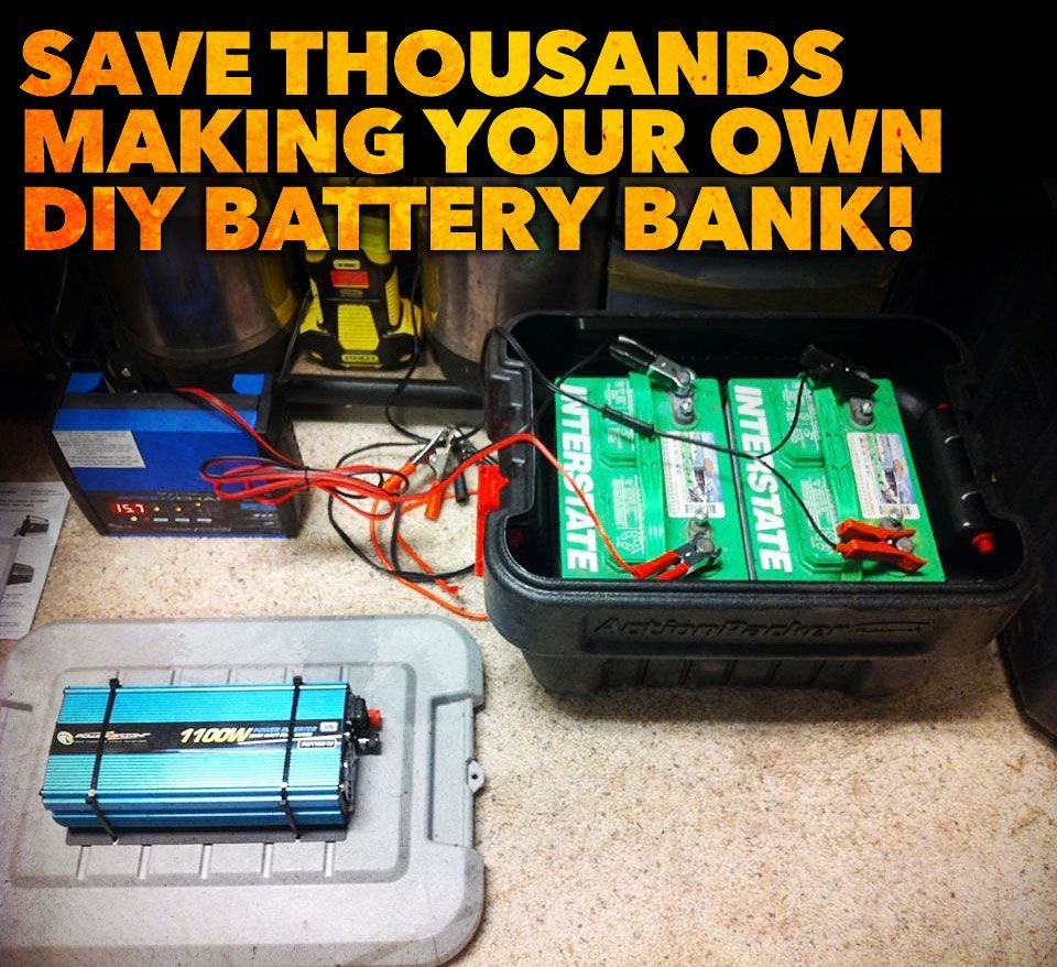 Save Thousands Of Dollars Building Your Own Diy Backup Battery Bank System For Solar Wind Hydroelectric And Mor Battery Bank Solar Battery Bank Solar Battery