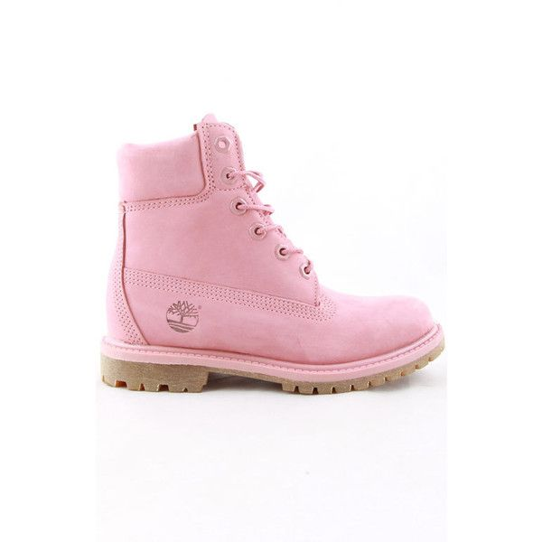ac1228bcea575 ($160) ❤ liked on Polyvore featuring shoes, boots, timberland shoes, pink  boots, timberland boots, timberland footwear and pink shoes