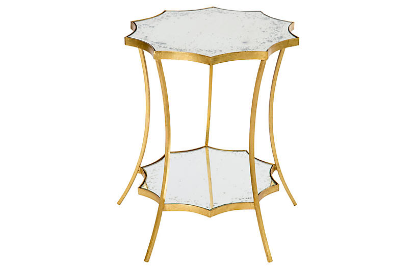 Astre Two Tiered Side Table Gold Living Room Side Table Mirrored Side Tables Side Table