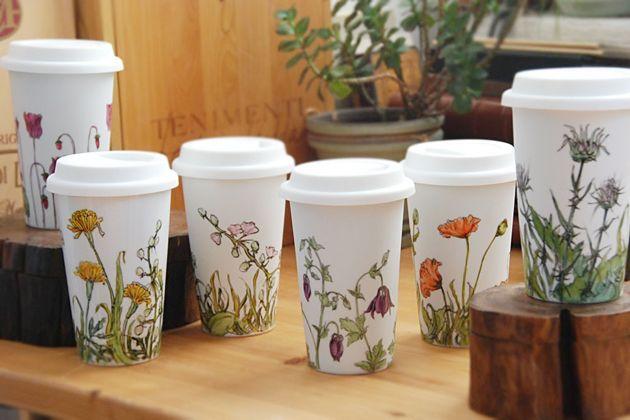 Ceramic Travel Mug Coffee Print