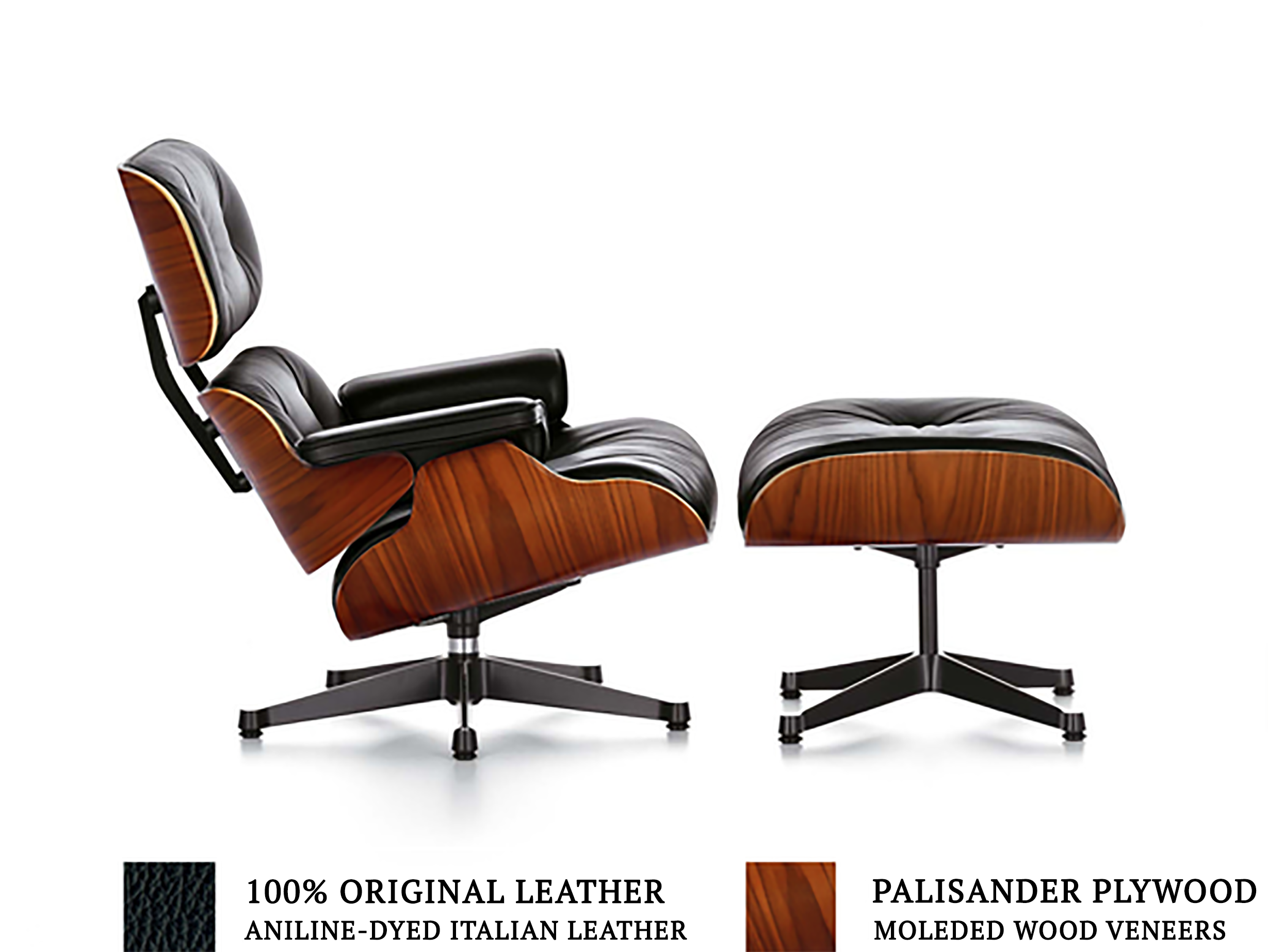 Terrific Eames Style Lounge Chair Ottoman Black Products Beatyapartments Chair Design Images Beatyapartmentscom