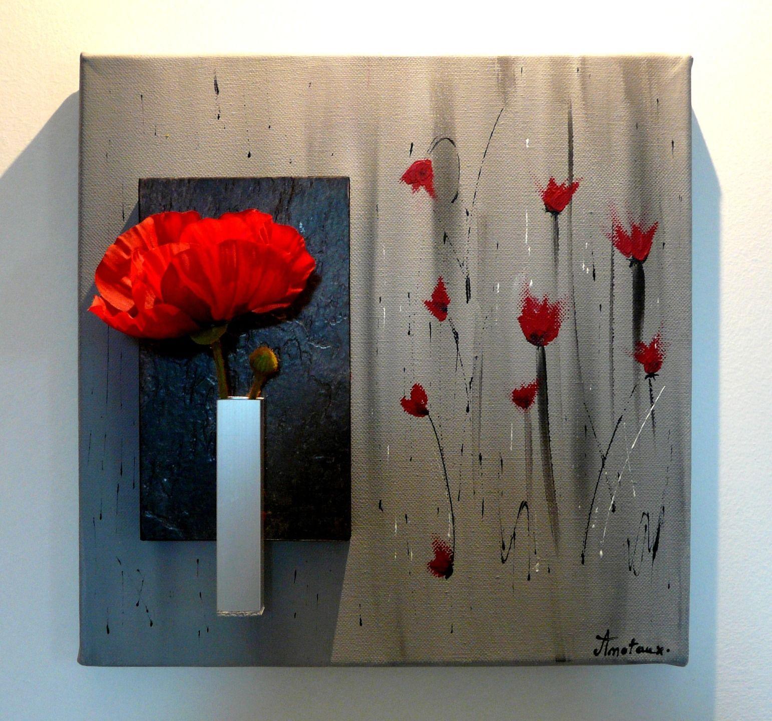 Tableau floral tons gris et rouge sur le thème coquelicots   Peinture, Art décoratif, Peintures ...