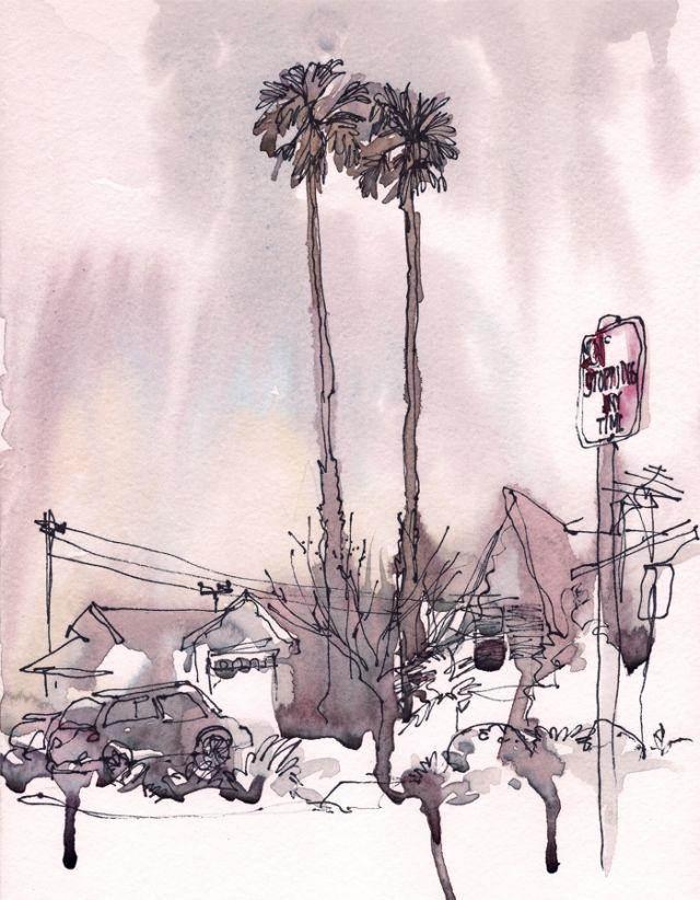 drippy watercolor skies.  Suhita Shirodkar