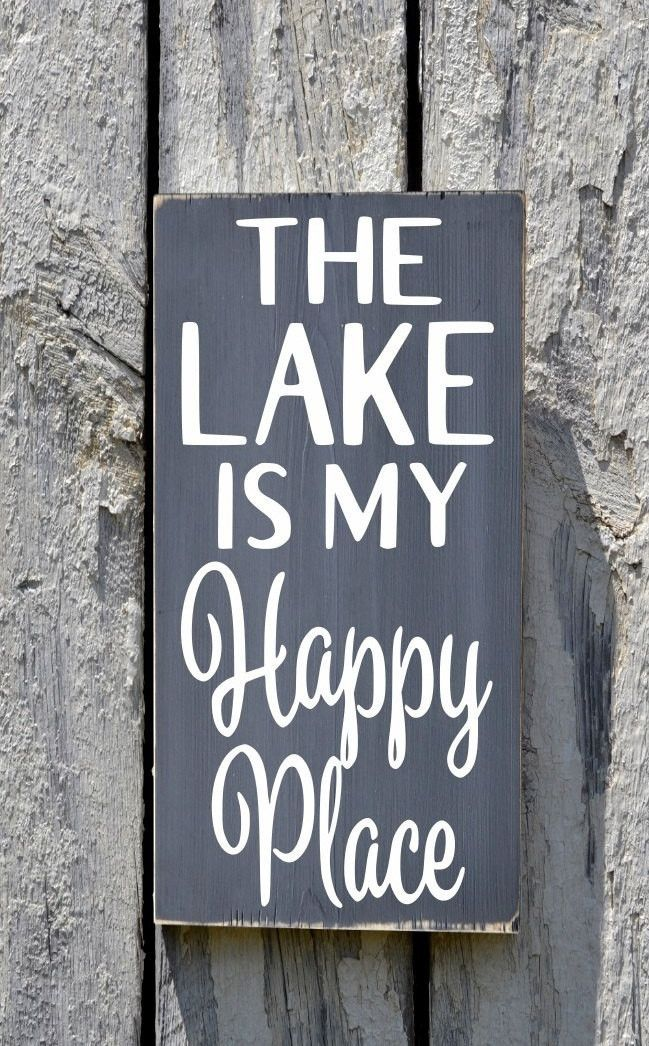 Lake House Decor Lakeside Sign The Lake Is My Happy Place Painted Wood  Quote Plaque Outdoor Housewarming Lakeside Gift Custom Wall Signs