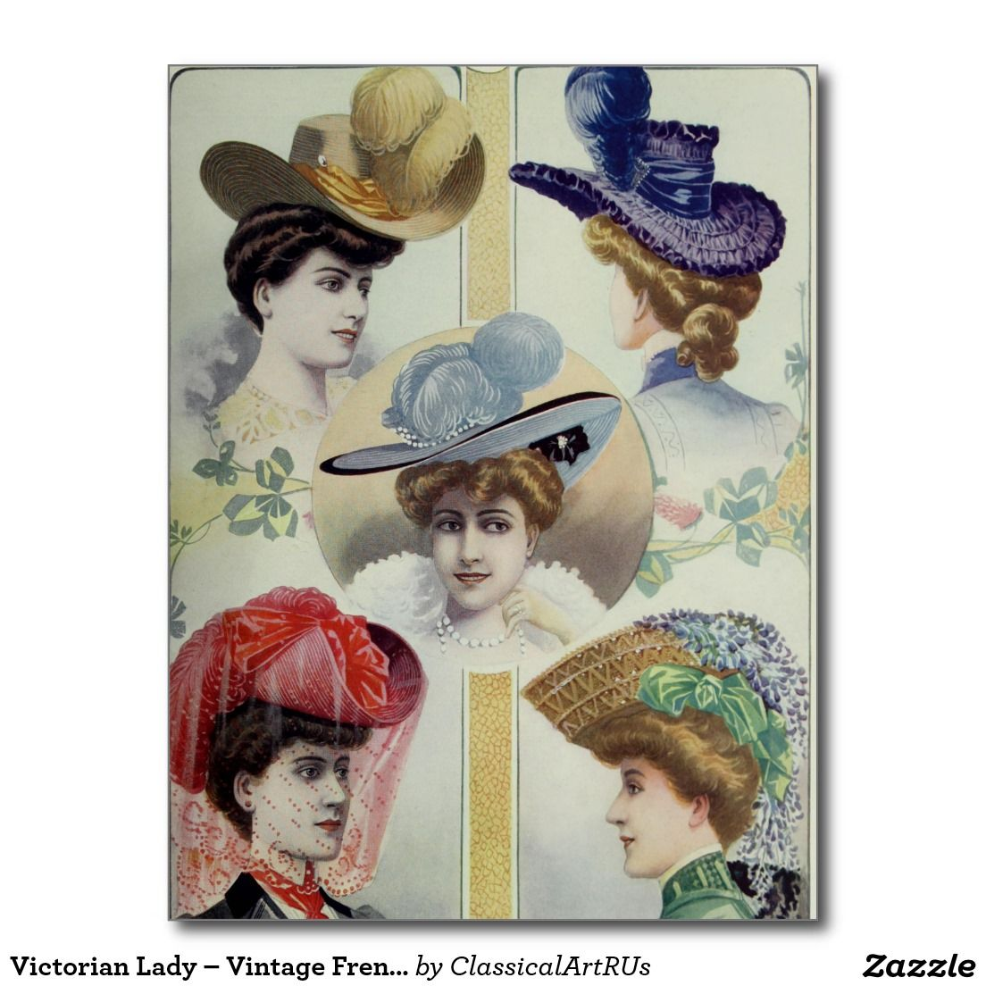 Victorian Lady Vintage French Fashion Hats Postcard Zazzle Com Victorian Lady Historical Hats French Fashion