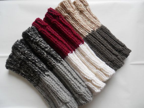 images of ways to wear boot cuffs | Hand knitted 2 ways to wear Women Boot cuffs Leg warmers