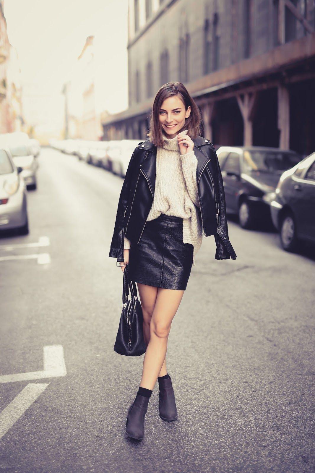 dcd8038ad1 WEARING KNITWEAR #miniskirt #leatherskirt #knitwear #jumper #streetstyle  #outfit #black #beige #ankleboots #fendi #ootd #fashionblog