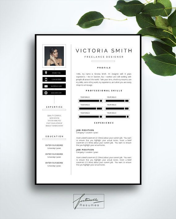 resume template 3 page    cv template   cover letter    instant download for ms word     u0026quot victoria