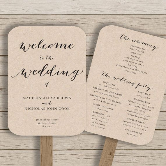 wedding program fan template printable rustic wedding fan editable by you in word calligraphy style print on kraft