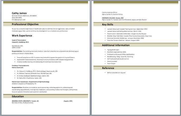 medical transcription resume