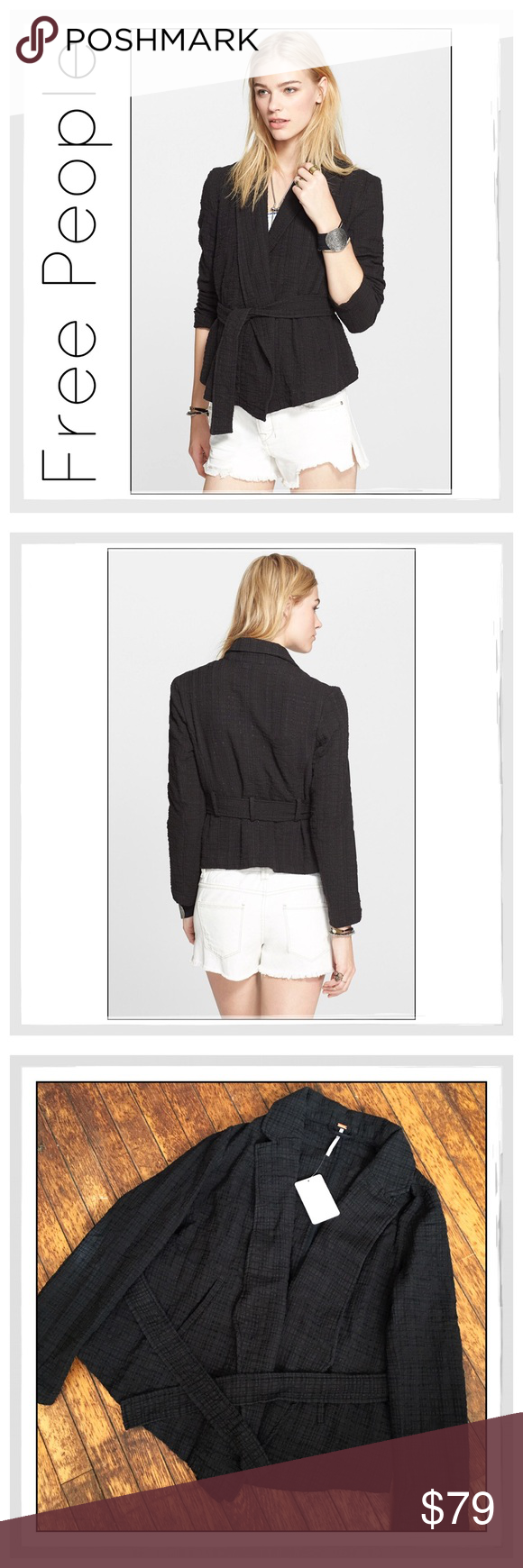 ✨Free People Gauze Wrap Jacket✨ ✨Free People Gauze Wrap Slouchy Jacket✨A classic blazer fused with a belted kimono, this wrap jacket fashioned from a gauzy blend of stretch-knit combed cotton strikes a chic balance between business and casual✨Hand Pockets With Removable Belt✨Front hemline goes down to a point; straight hemline across back✨86% combed cotton, 13% polyamide, 1% spandex✨NWT✨Size Small✨This Jacket Runs Big and also Fits Medium and Petite Large✨ Free People Jackets & Coats…