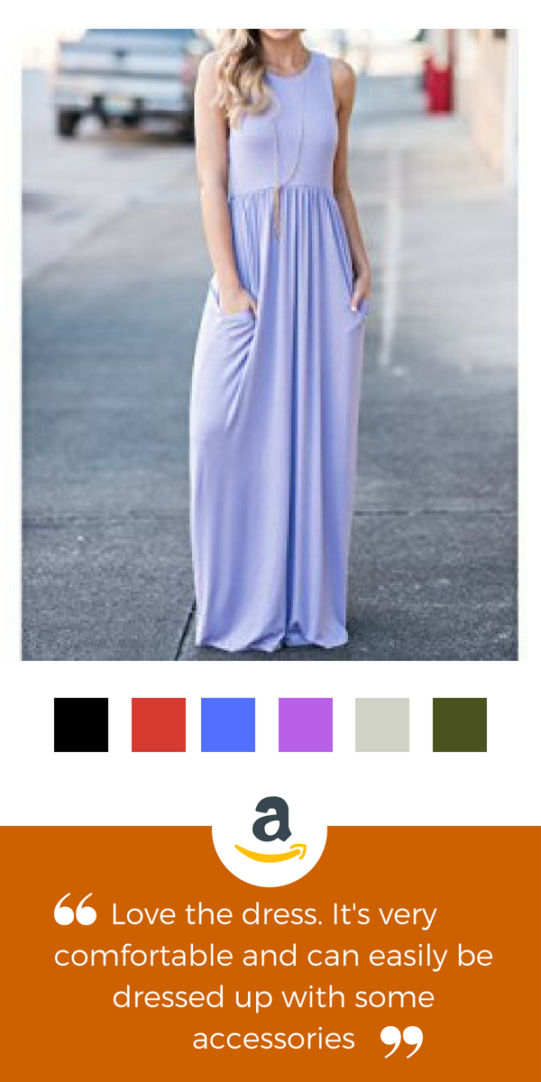 9f4676f6d1f1 GRECERELLE Women's Sleeveless Racerback Loose Plain Maxi Dresses Casual  Long Dresses with Pockets Casual Style,