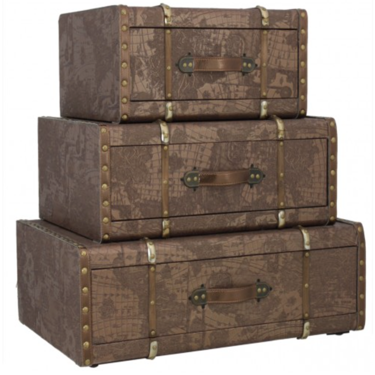 Good Showcasing A Brown World Map Design And Buckle Detailing, This Leather Look  Chest Set Is A Versatile Addition To Any Home. Keep Your Favourite Shoes  Tidied ...