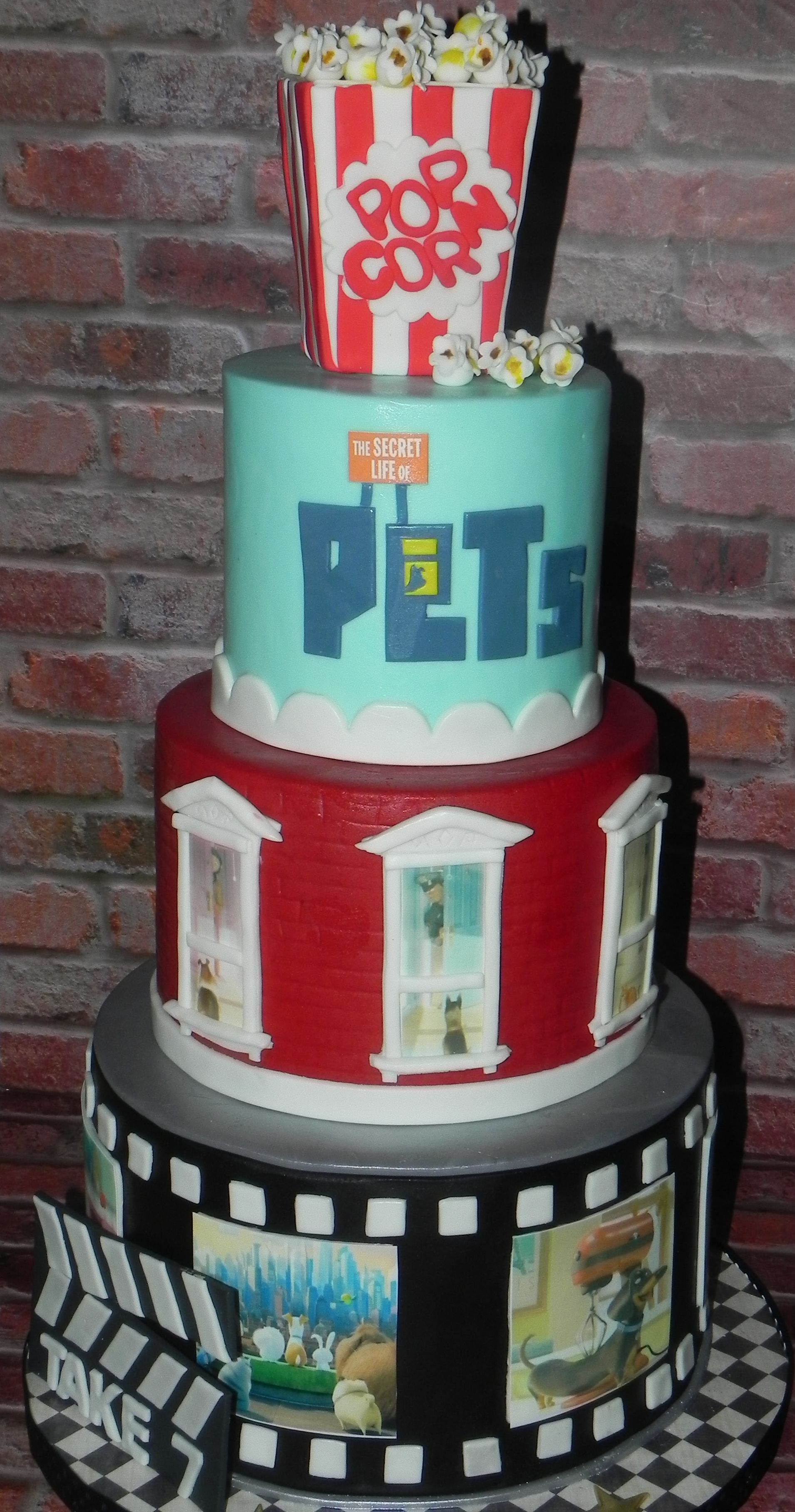 Secret Life Of Pets Cake With Handcrafted Popcorn Topper And Handpainted Fondant Popcorn Birthday Cake Kids Party Cakes Birthday Party Cake