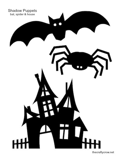 Shadow puppets printable bat spider haunted house for Free shadow puppet templates