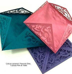 Diamond Flap Laser Cut Invites - Multiple colours