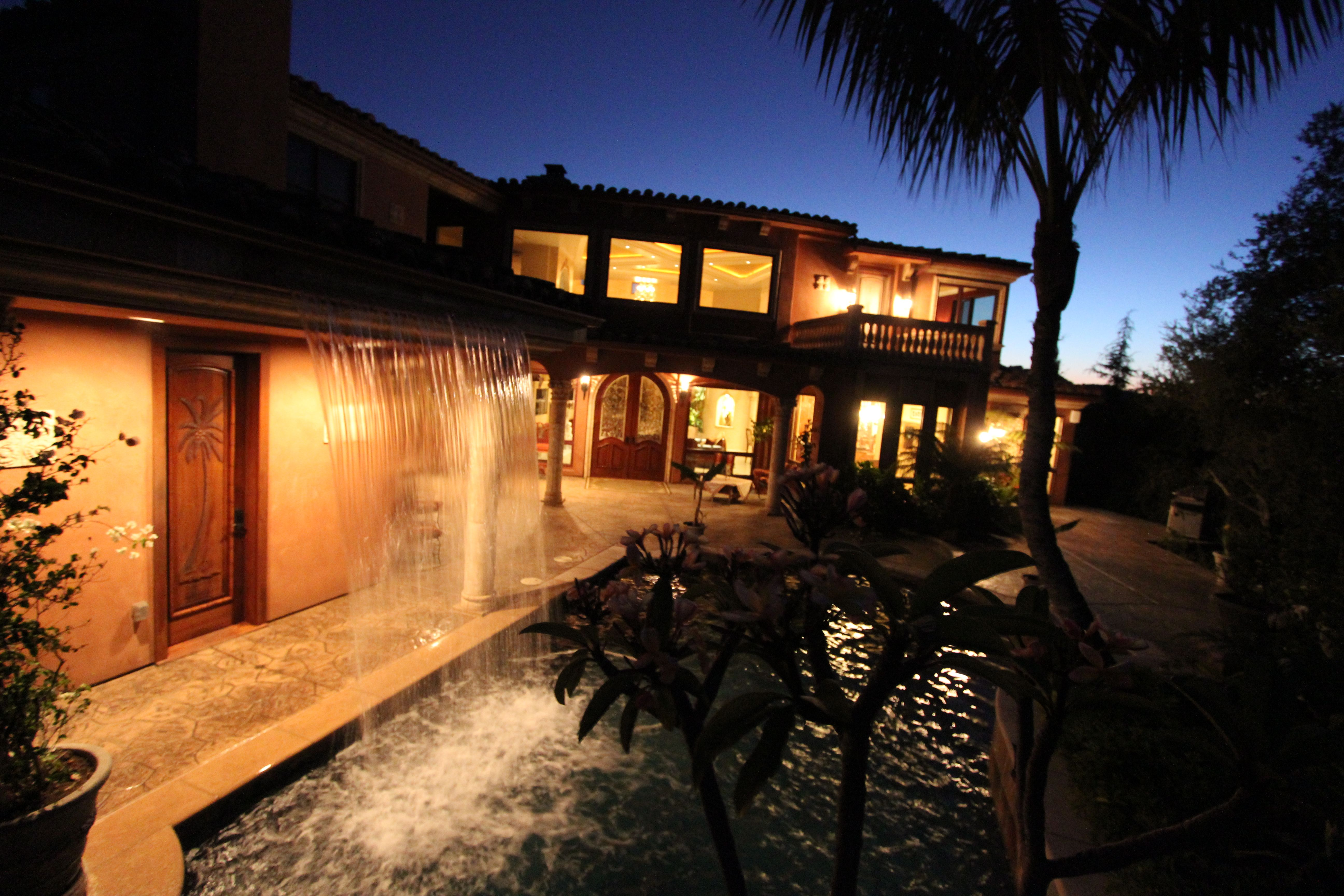 4633 Olive Hill Road Fallbrook California Pool At Night With
