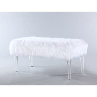 Chic Home Modern Contemporary Faux Fur Acrylic Leg Bench