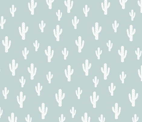 Fabric by the Yard Cactus - Ice Blue