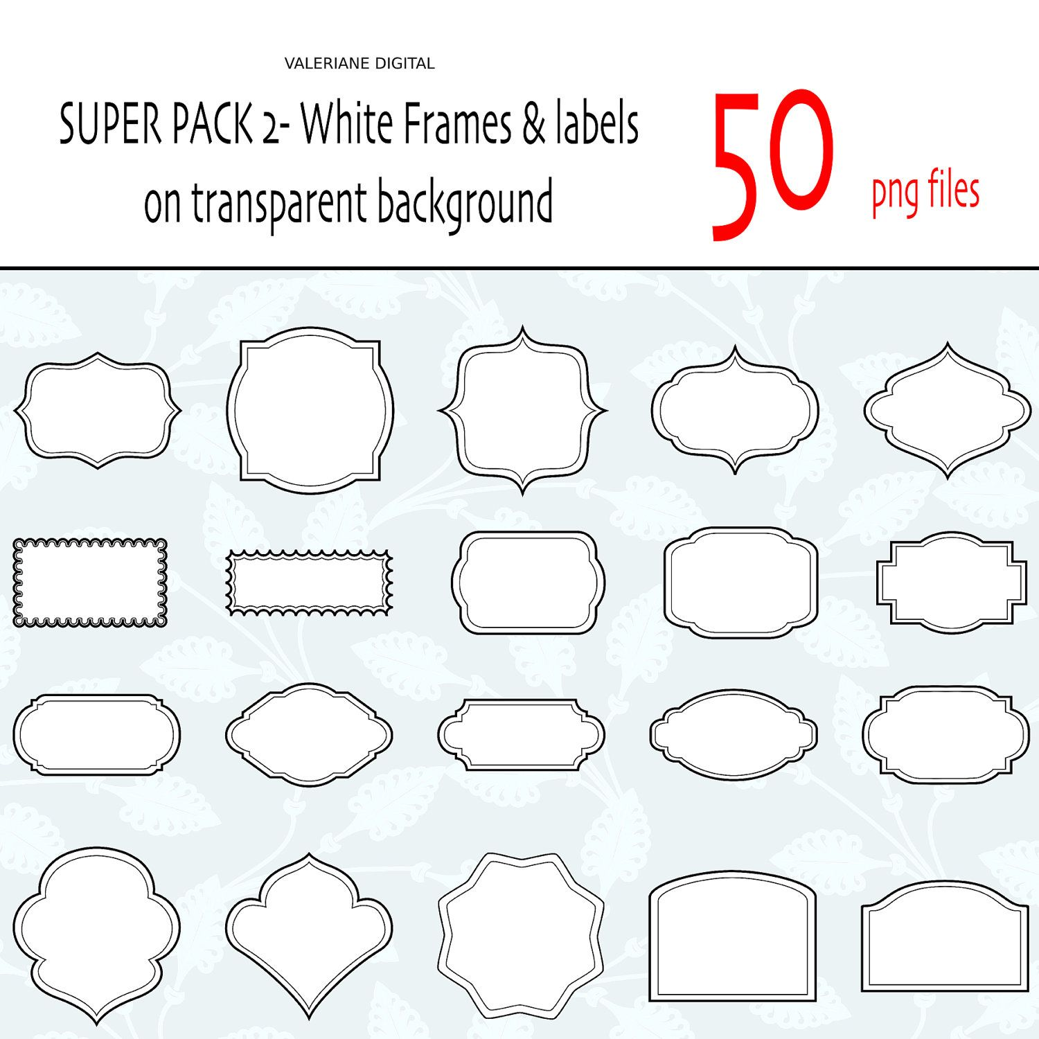 50 classic white digital clipart frames and labels digital scrapbook frame digital frame clip art frame 074