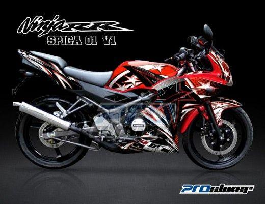 Awesome Stiker Motor Kawasaki Ninja 150 RR Merah SPICA 01 V1 520x401 Great Pictures