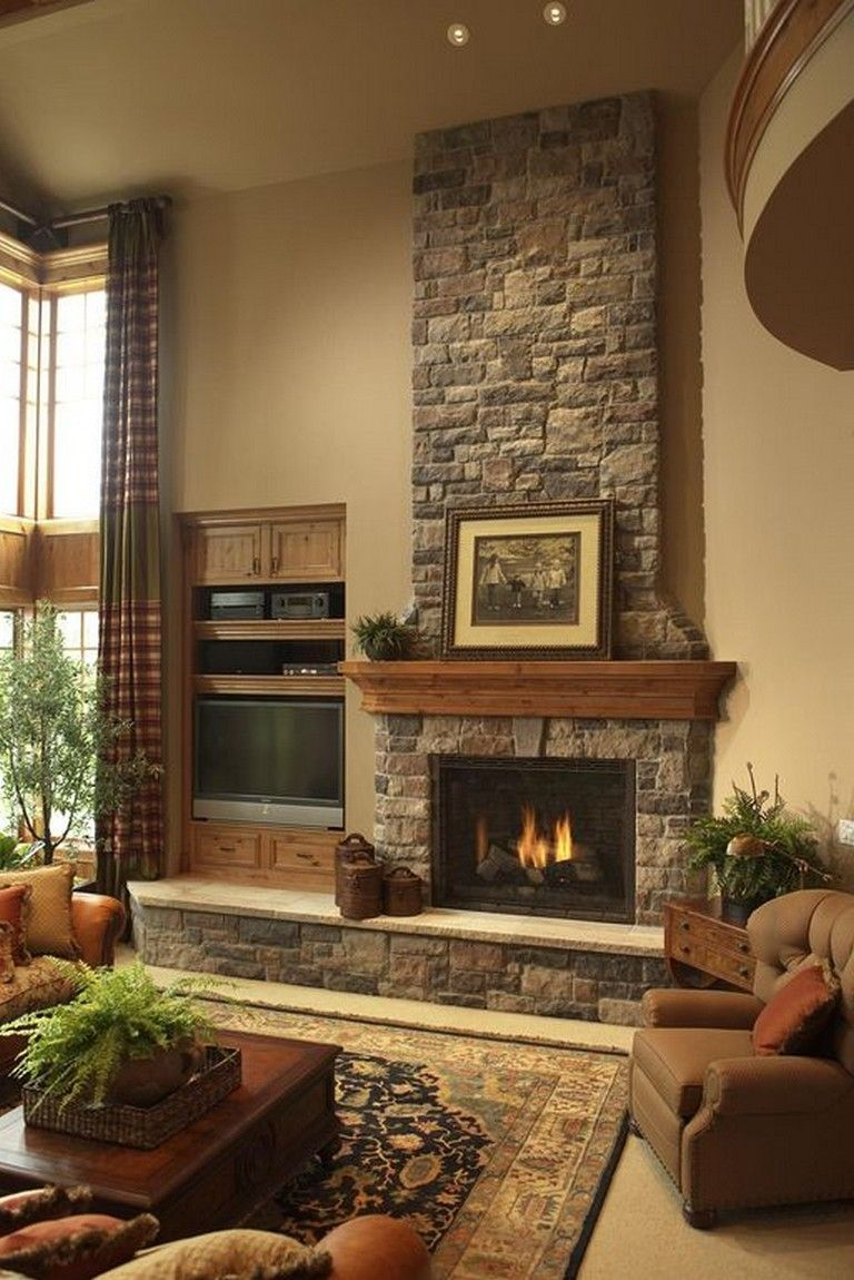 26 Awesome Traditional Stone Fireplace Decorating Ideas You