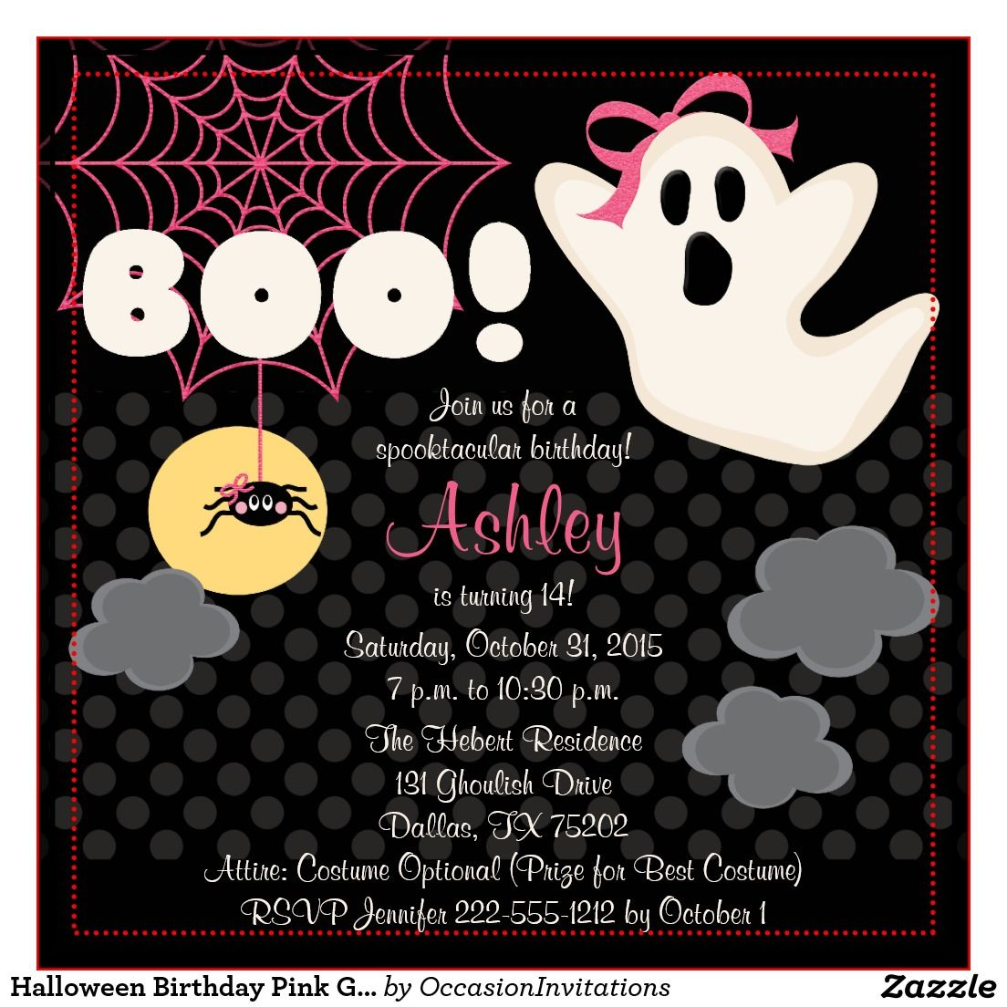 Cool FREE Template Halloween Themed Birthday Party Invitations ...