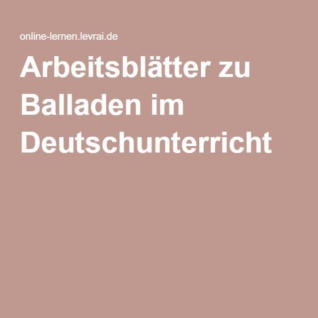 Arbeitsblätter zu Balladen im Deutschunterricht | German 3 ...