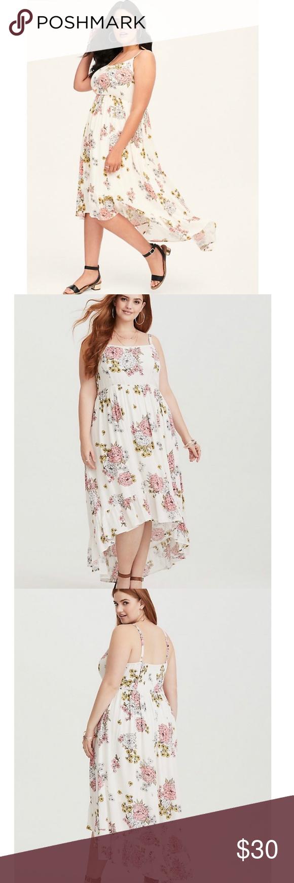 Torrid Ivory Floral Hi Low Maxi Dress Plus Size 4x Floral High Low Dress Plus Size Maxi Dresses Gauze Maxi Dress [ 1740 x 580 Pixel ]