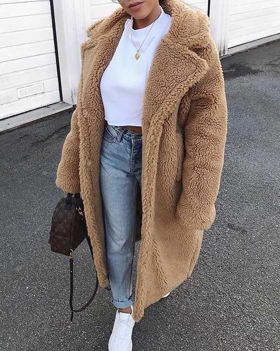 long faux fur camel teddy coat maxi jackets in 2019 faux. Black Bedroom Furniture Sets. Home Design Ideas