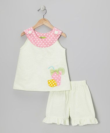 Take a look at this Lime & Pink Lemonade Yoke Top & Shorts - Toddler & Girls by Stellybelly on #zulily today!