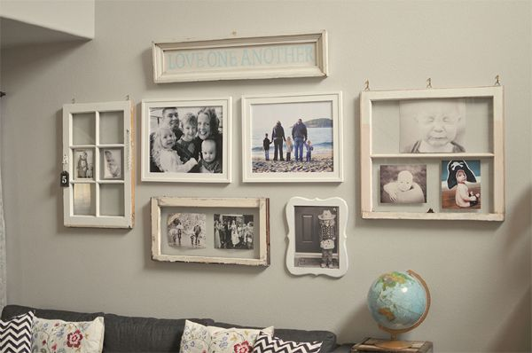 Use Old Windows For Photo Display Frames On Wall Country Wall Decor Gallery Wall