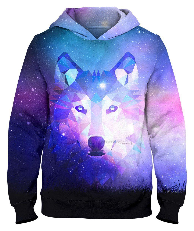 New Galaxy Wolf Print Graphic Women Men Zip Up Hoodie Street Jumper Coat S-3XL