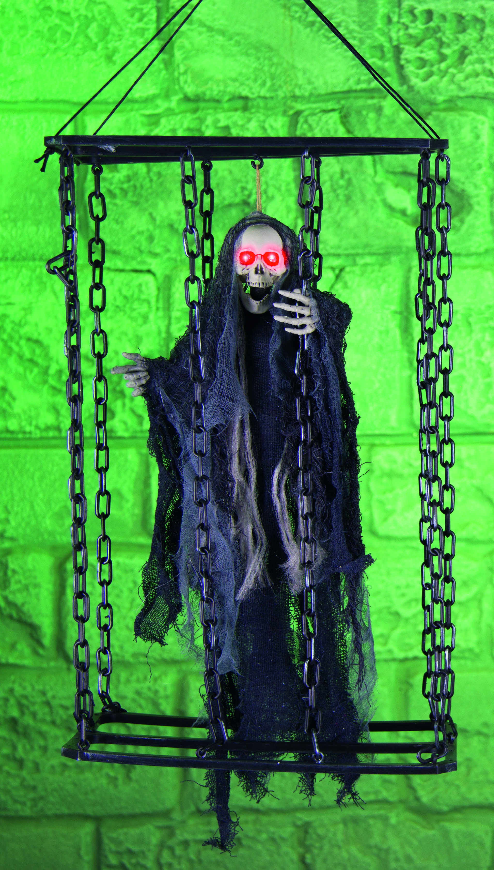 Creepy Skeleton In Cage Hanging Decoration Display Party Y Scary Event Chain Red Eyes