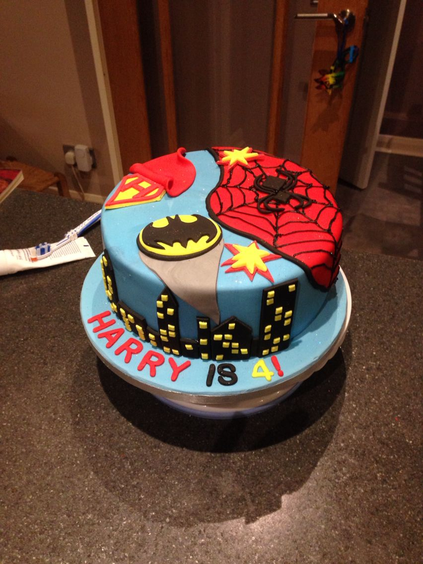 SpiderMan batman superman birthday cake 1 tier bright