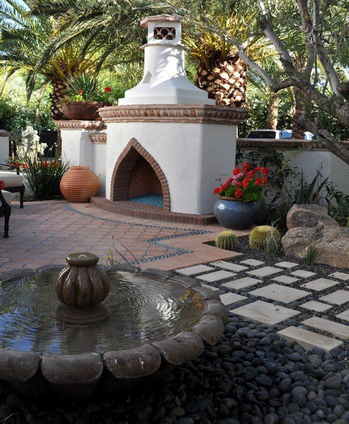 jardin mediterraneen arabe maroc marocain idee deco design cheminee ...