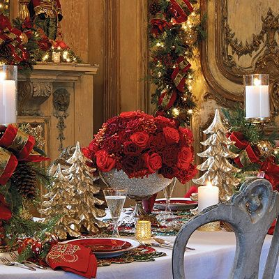 Red And Green Christmas Tablescape Inspiration Via Frontgate Christmas Table Decorations Christmas Table Christmas Entertaining