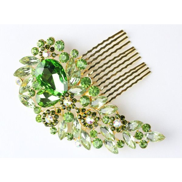 Vintage Style Encrusted Green Gold Clear Diamante Crystal Gem Hair... (33 CAD) ❤ liked on Polyvore featuring accessories, hair accessories, decorative combs, silver, jeweled hair clips, jeweled hair accessories, jeweled hair combs, hair clip comb and gold fascinator