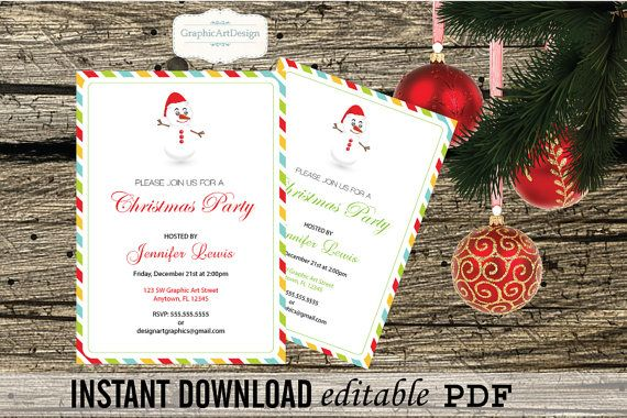 Diy Christmas Party Invitation Printable Editable Pdf Template 5x7 Colorful Stripes Snowman Ornaments You Print