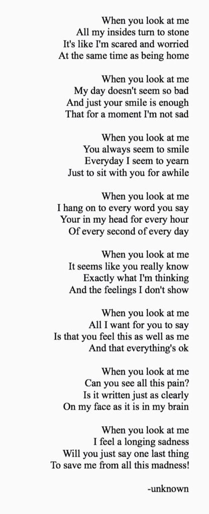 You look at me i look at you lyrics