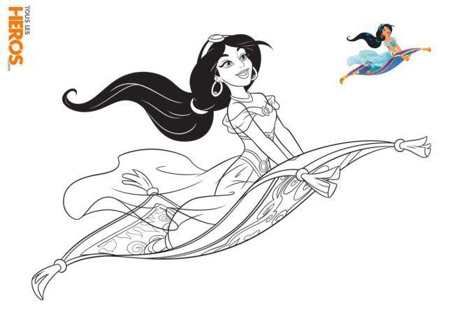 Coloriage Disney Princesses Jasmin De Aladin Sur Le Tapis Volant