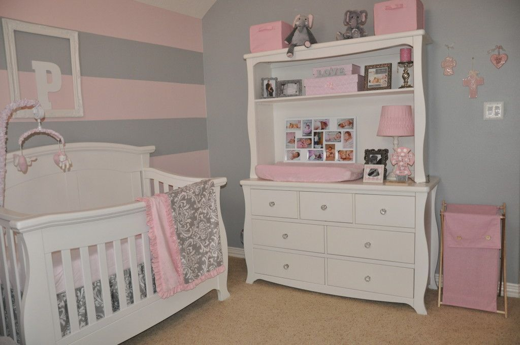 Pink N Grey Striped Wall In Nursery Baby Girl Nursery Pink Baby Girl Nursery Pink And Grey Girl Nursery Pink