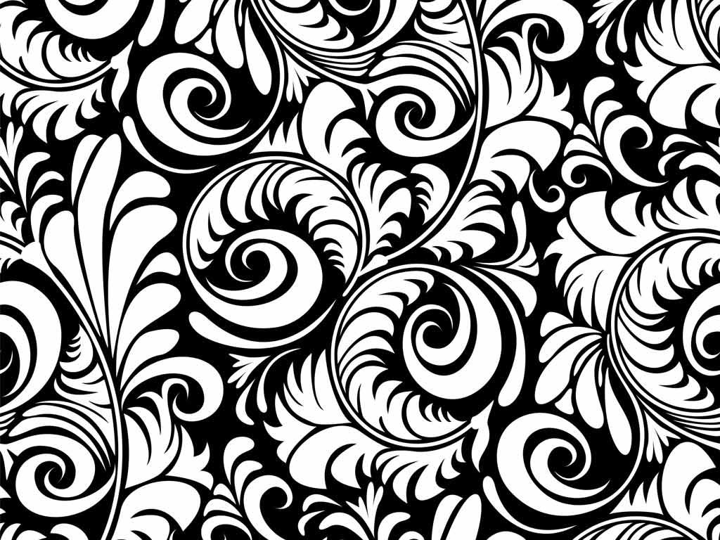 Hd Black And White Swirl Pattern Floral Wallpaper Black And