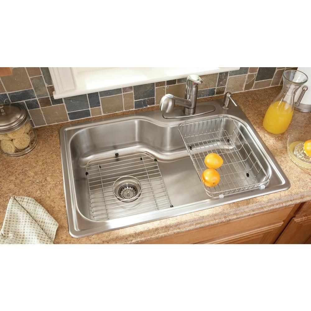 Glacier Bay All-in-One Top Mount Stainless Steel 33x22x8 4-Hole ...