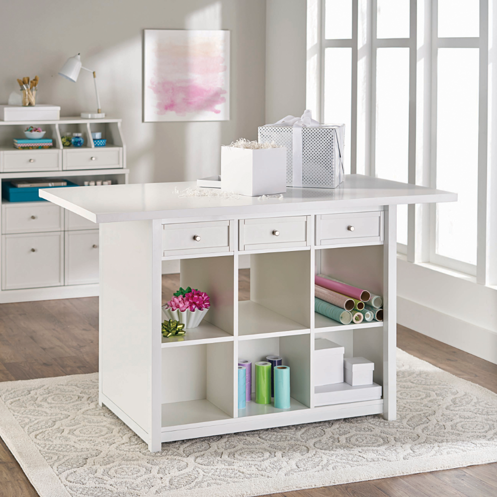 Better Homes Gardens Craftform Sewing And Craft 5 Foot Work Desk White Finish Walmart Com Small Craft Rooms Craft Room Organization Craft Room