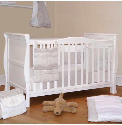 NEW 4BABY WHITE WOOD CLASSIC BABY COTBED WITH MAXI AIR COOL MATTRESS