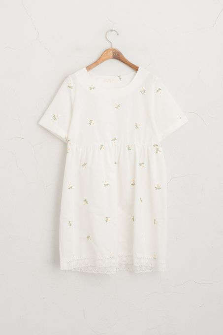 Daisy Stitch Point  Dress, White, 100% Cotton
